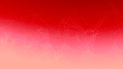 White Trippy Abstract Plexus Polygon wireframe Shapes on Red Gradient Background.