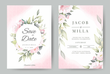 Wedding invitation set card template wreath design with rose flower watercolor bouquet vector.