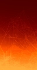 Yellow Trippy Abstract Plexus Polygon wireframe Shapes on Orange Gradient Background. Skyscraper Web Banner 3D Illustration.