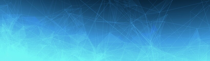 Trippy Abstract Plexus Polygon wireframe Shapes on Blue Gradient Background. Half Banner Web Banner 3D Illustration.