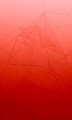 Trippy Abstract Plexus Polygon wireframe Shapes on Red Gradient Background. Fat Skyscraper Web Banner 3D Illustration.