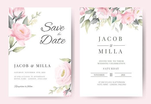 Rose flower watercolor wedding invitation card set template vector design.