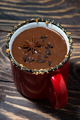winter drink hot chocolate, top view