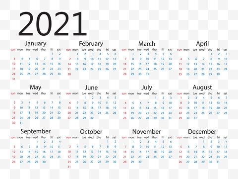 2021 calendar, week starts Sunday. Vector illustration, flat design.