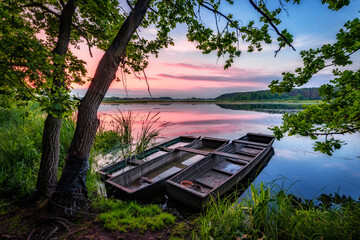 Photo sur Aluminium Inde Beautiful summer sunrise at the lake