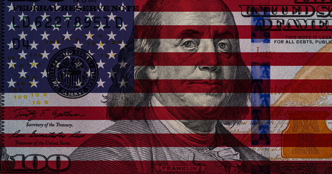 Transparent american flag on 100 dollar bill background