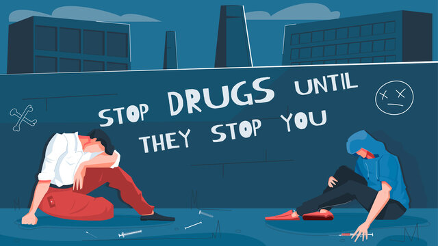 Drug Addiction Flat Composition
