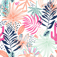 Seamless tropical pattern with hand drawn plants, leaves and exotic flowers. Jungle summer background. Perfect for fabric design, wallpaper, apparel. Vector illustration
