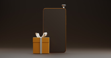 Render with a luxury gold composition of a gift box, phone and diamond