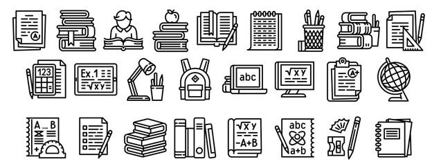 Homework icons set. Outline set of homework vector icons for web design isolated on white background