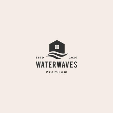 house water wave hipster vintage logo vector icon illustration
