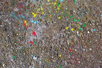 Colorful Mishap Stains / Splatter of paint on gray weathered concrete background (copy space)
