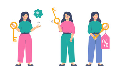 Young woman holds the golden key with a discount offer tag with a percentage sign. Happy female buyer holds the key to their purchase. Vector illustration