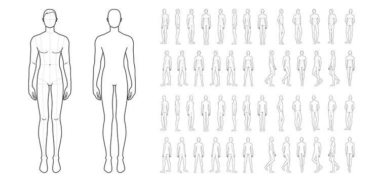 Fashion template of 50 men.