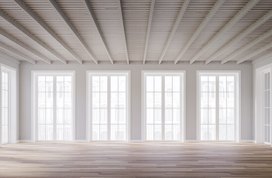 Classical style empty room interior 3d render,The rooms have wooden floors ,gray walls and white wood ceiling,there are white window looking out to the classical building outside.