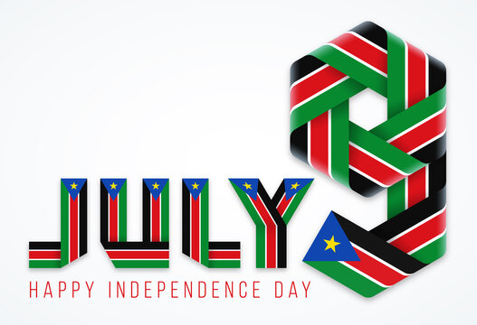 July 9, Independence Day of South Sudan congratulatory design with south sudanese flag elements. Vector illustration.