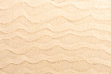Sandy beach for background. Sand texture close up. Flat lay and top view and above, copy space