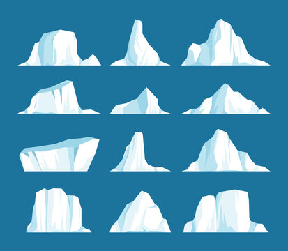 Vector set of floating icebergs in flat cartoon style. Arctic, Antarctic and North Pole ice frozen mountain landscape, freeze ocean, arctic glacier, snow caps. Environment protection concept.