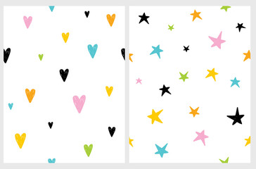 Cute Colorful Heart and Star Seamless Vector Pattern, Funny Doodle style Irregular Prints with Hand Drawn Hearts and Stars Ioslated on a White Background. Infatile Style Repeatable Backdrop.
