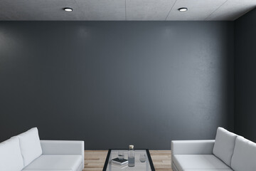 Fotomurales - Modern waiting room in office with two sofa and blank black wall.