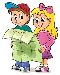 Poster For Kids Children holding map theme image 1