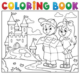 Coloring book children holding map 2