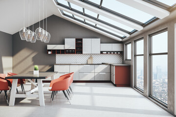 Fotomurales - Cozy loft kitchen interior with furniture