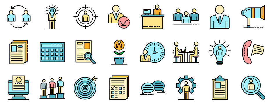 Recruitment icons set. Outline set of recruitment vector icons thin line color flat on white