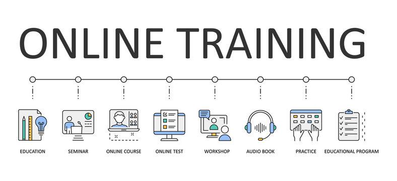 Online training web banner infographics. Editable Stroke Vector Icons. Audio book educational program. Workshop online course test seminar education practice