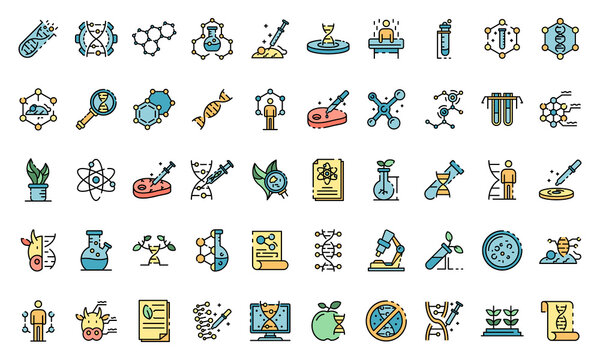 Genetic engineering icons set. Outline set of genetic engineering vector icons thin line color flat on white