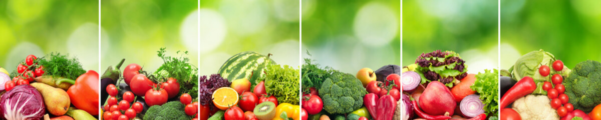 Wall Mural - Collage fruits and vegetables divided vertical lines on green natural background.