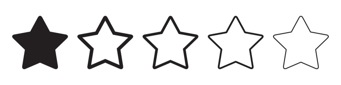 Star icons in five different versions in a flat design