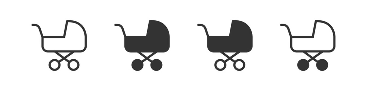 Baby carriage icons in four different versions in a flat design
