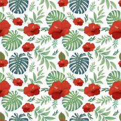 Tropical seamless pattern, hibiscus flowers and leaves of tropical plants