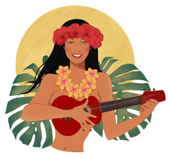 Beautiful Hawaiian pinup girl playing the ukulele, wearing hibiscus flowers in her hair. Monstera leaves background. Color pencil drawing