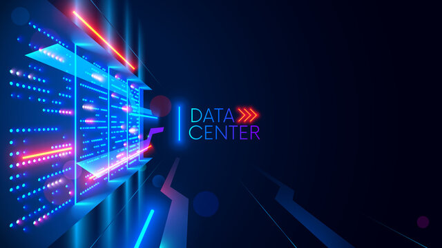 Data center or digital storage. Server rack with glowing lights. Abstract tech background of cloud computing, networking technology. Data stream processed and warehouse by server. Conceptual banner.