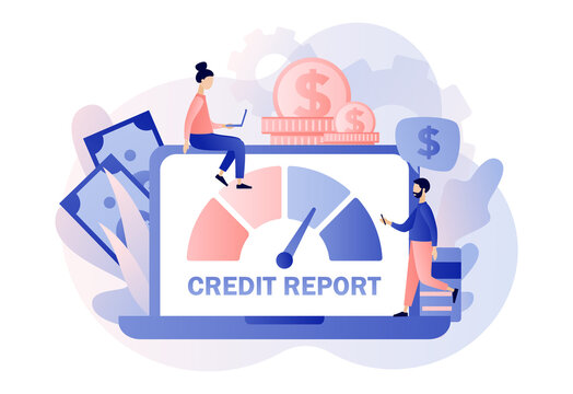 Credit report online. Credit rating. Personal credit score information and financial rating. Tiny people analysts credit risk control.Modern flat cartoon style. Vector illustration on white background