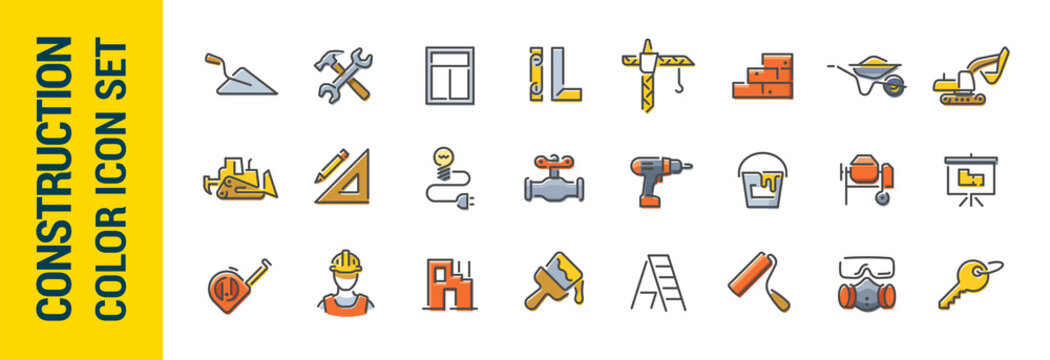 Building construction vector line color icon set. Tools and building materials