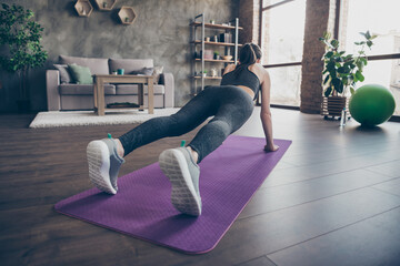 Full length back rear spine view photo of athlete beautiful girl doing push- ups aerobics plank...