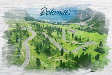 Wall Mural - Watercolor of winding road at Passo Gardena, Dolomites