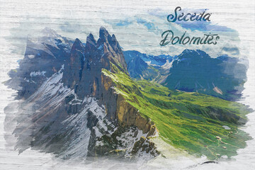 Wall Mural - Watercolor painting of Seceda in Dolomites, Italy