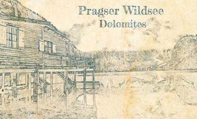 Wall Mural - Sketch of Lago di Braies in Dolomites on old paper