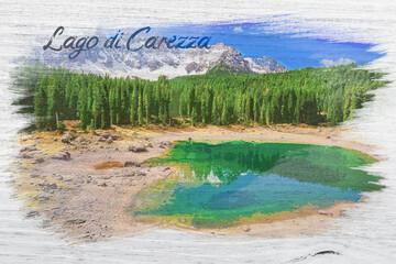 Wall Mural - Watercolor of Lago di Carezza lake in Dolomites, Italy