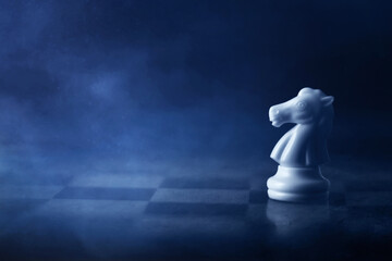 White chess knight on chess board