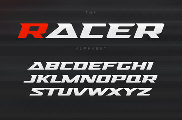 Racing font, aggressive and stylish lettering design. Dynamic letters, italic wide font with modern serifs, sports alphabet. Vector typography design.