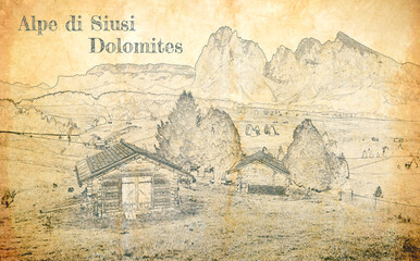 Wall Mural - Alpe di Siusi in Dolomites, sketch on old paper