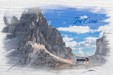 Wall Mural - Watercolor of Monte Paterno and cottage in Dolomites, Italy