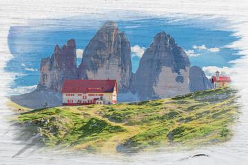 Wall Mural - Watercolor of Mountain shelter Dreizinnen hut, Dolomites