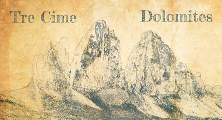 Wall Mural - Tre Cime di Lavaredo in Dolomites, sketch on old paper
