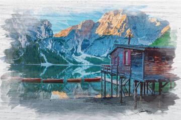 Wall Mural - Lago di Braies in Dolomites, watercolor painting